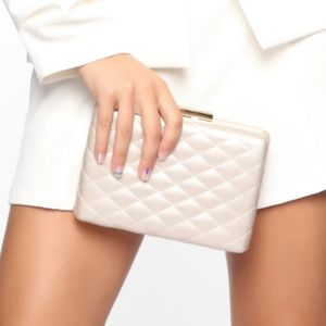 White/Gold Boxy Quilted Detail Hand Clutch NWT
